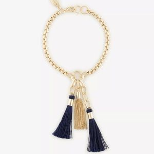 NWT Ann Taylor Gold Navy Tassel Bracelet Charm